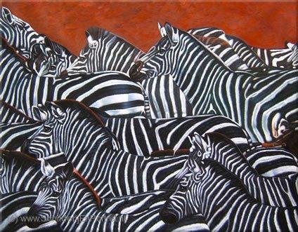 Schilderij zebra - wild