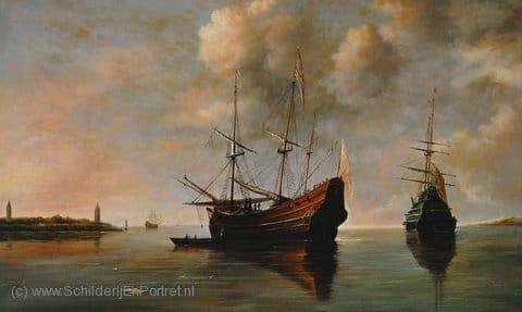 Reproductie twee schepen voor anker