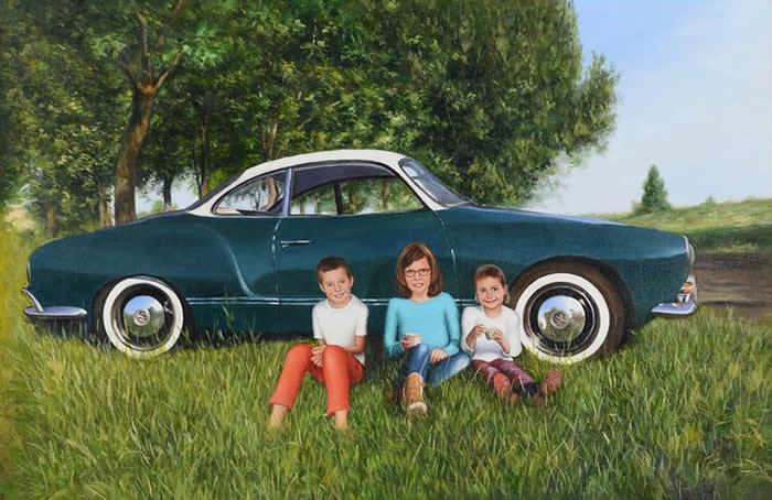Oldtimer schilderij met kinderen
