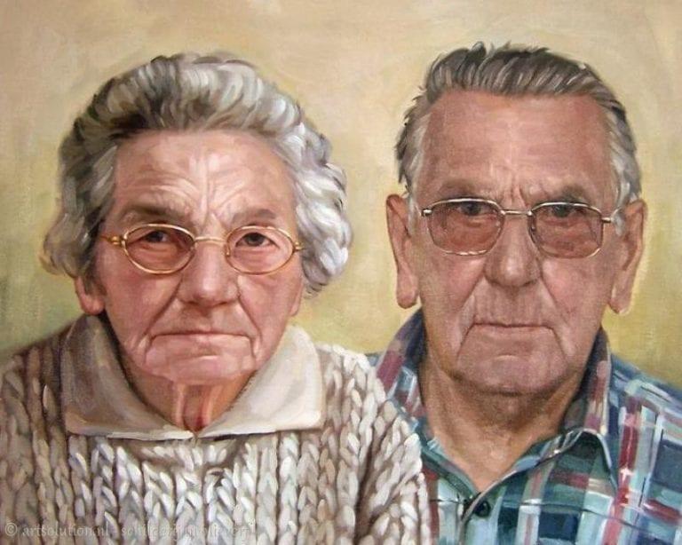 Schilderij opa-oma