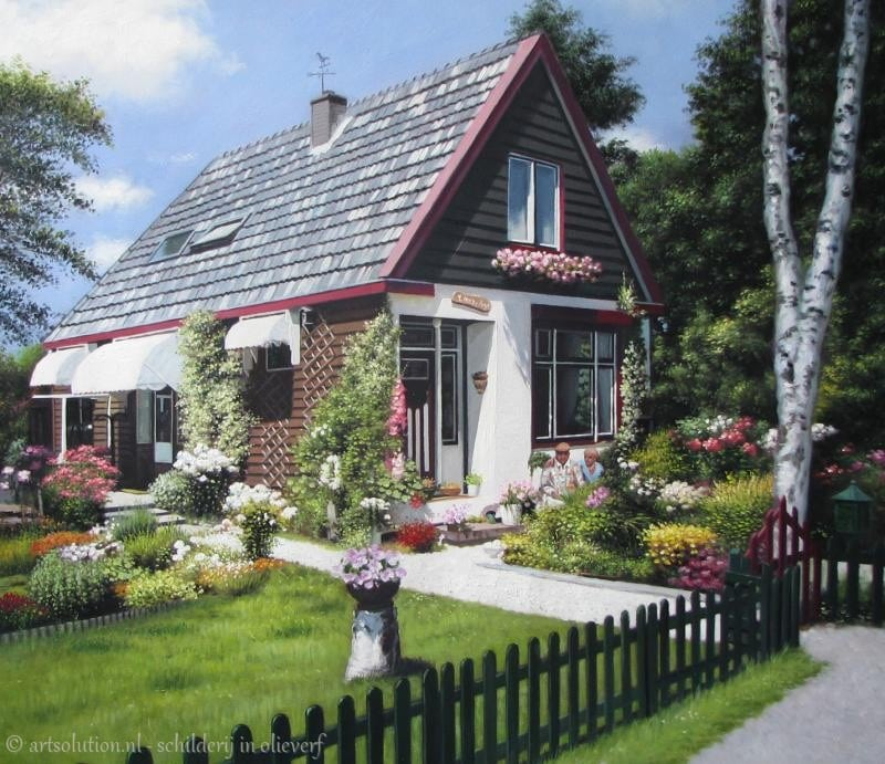 Schilderij portret huis met bomen woning schilderijen for Woning schilderen