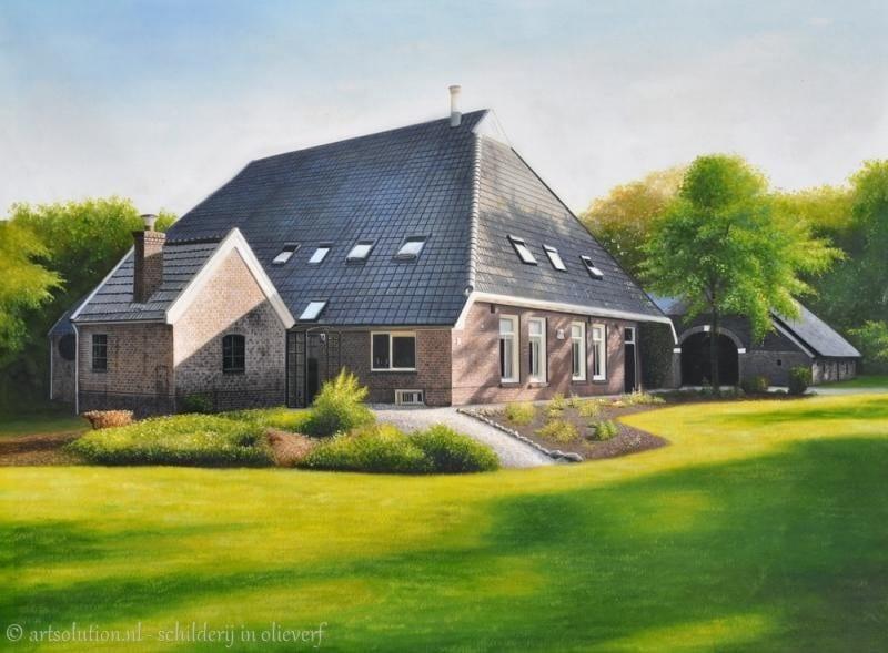 Schilderij boerderij woning schilderijen for Schilderij huis voorgerecht