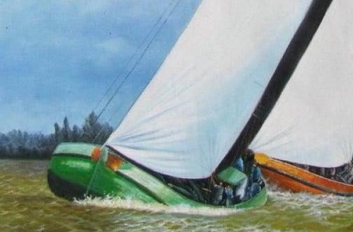 Detail skutsje schilderij