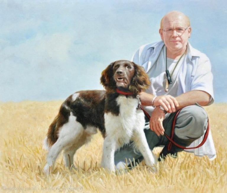 Schilderij man met hond