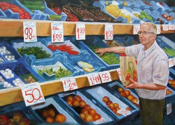 schilderij - groenteboer
