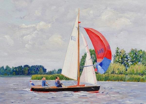 Zeilboot schilderij