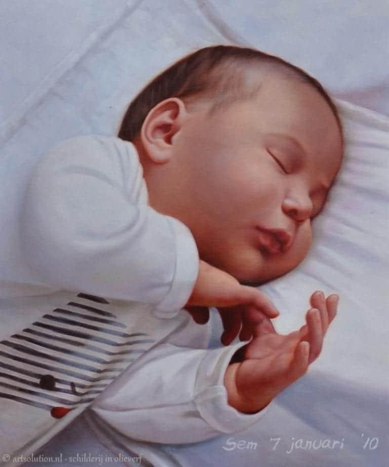 Baby slapend - schilderij