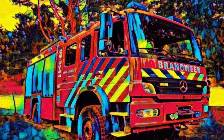 Schilderij brandweerauto